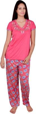Kanika Women's Floral Print Pink Top & Pyjama Set