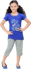 Red Ring Kids Nightwear Girls Printed Cotton(Blue)