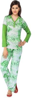 Cottinfab Women's Printed Green, White Top & Pyjama Set