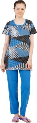 Informal Wear Women's Printed Blue, Black Top & Pyjama Set