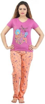 Sunwin Women's Printed Pink, Orange Top & Pyjama Set