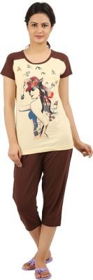 New Darling Women's Printed Beige, Brown Top & Capri Set