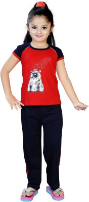 13 in Girl's Printed Red Top & Pyjama Set
