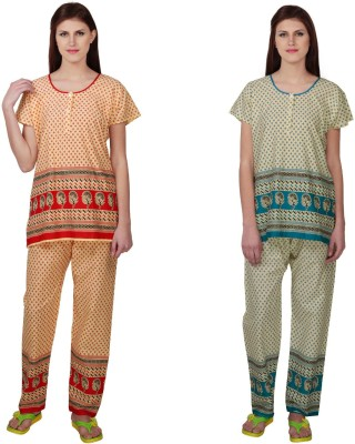 Simrit Women's Printed Red, Blue Top & Pyjama Set