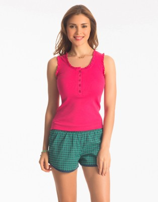 PrettySecrets Women's Checkered Pink, Green Top & Shorts Set
