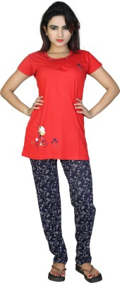 F FASHIONSTYLUS Women's Printed Red, Blue Top & Pyjama Set