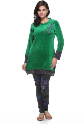 Dove Women's Solid Green Top & Pyjama Set