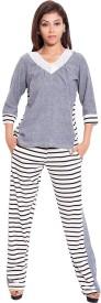 Forever9teen Women's Striped Grey Top & Pyjama Set
