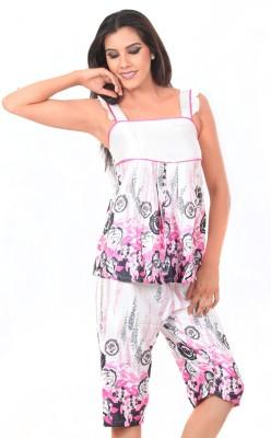 Kamuk Life Women's Floral Print Multicolor Top & Capri Set
