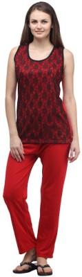 Klamotten Women's Solid Red Top & Pyjama Set