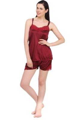 Fasense Women's Solid Maroon Top & Shorts Set at flipkart