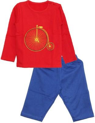 My Little Lambs Baby Boy's Solid Red Top & Pyjama Set