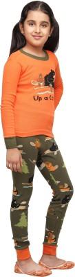Lazy One Girl's Printed Orange Top & Pyjama Set