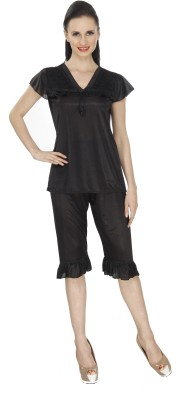 Ignis Women's Solid Black Top & Capri Set