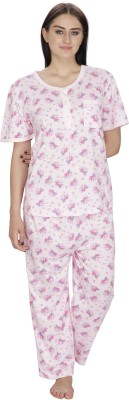 Josilins Women's Printed Pink Top & Pyjama Set