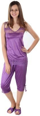 Se Deplace Women's Solid Purple Top & Capri Set