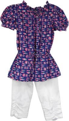 SSMITN Girl's Printed Blue Top & Pyjama Set