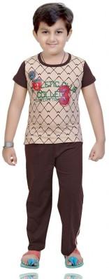 Mint Boy,s Printed Brown Top & Pyjama Set