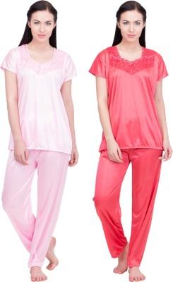 LeSuzaki Women's Solid Pink, Red Top & Pyjama Set