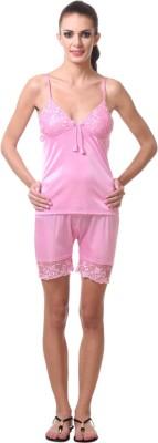 Affair Women's Solid Pink Top & Shorts Set