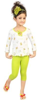 Koolkids Baby Girl's Printed Green Top & Pyjama Set