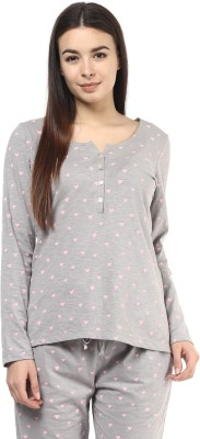 Color Cocktail Lounge Wear Full Sleeve Printed Women's Grey Top