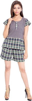 Forever9teen Women's Solid Grey Top & Shorts Set