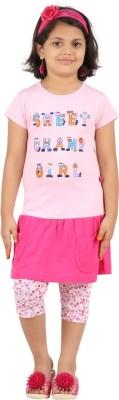 SPN Garments Girl,s Printed Pink Top & Capri Set