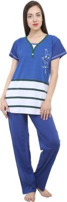 Hautewagon Women's Printed Blue Top & Pyjama Set