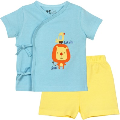 Baby Pure Baby Boy's Solid Light Blue Top & Shorts Set