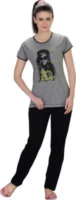 Lazy Dazy Women's Solid Grey, Black Top & Pyjama Set