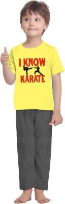 La Dreamz Boy's Solid Yellow Top & Pyjama Set