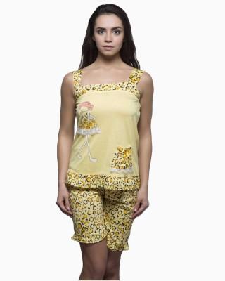 Kunchals Women's Animal Print Yellow Top & Shorts Set