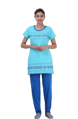 Broche Women's Printed Blue Top & Pyjama Set