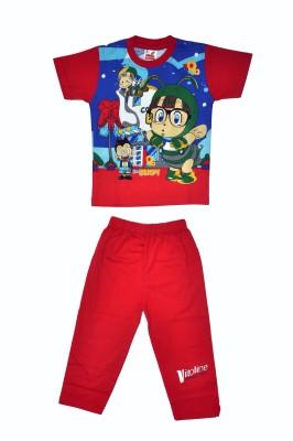 Belle Girl Boy's Printed Red Top & Pyjama Set