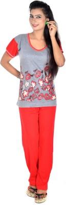 Rosabela Women's Printed Red Top & Pyjama Set