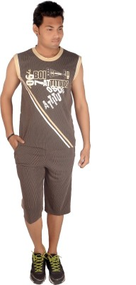 Premium Plus Men's Striped Brown T-shirt & Three-forth Set