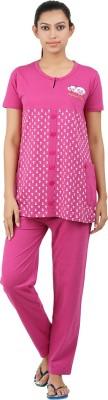 Informal Wear Women's Animal Print Pink Top & Pyjama Set
