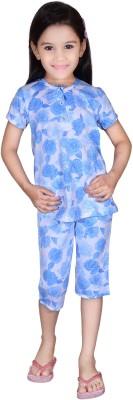 Dreamz Girls Floral Print Blue Top & Capri Set