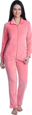La Zoya Women's Solid Pink Top & Pyjama Set