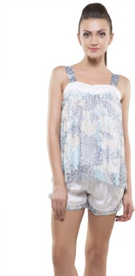 Kunchals With Nightwear Women's Self Design Blue Top & Shorts Set