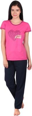 Lazy Dazy Women's Printed Pink, Blue Top & Pyjama Set