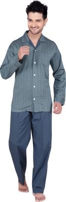 TATWAM Men's Printed Grey Top & Pyjama Set