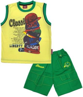 Kid's Care Boy's Printed Yellow Top & Shorts Set
