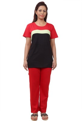 Div Women's Printed Red Top & Pyjama Set