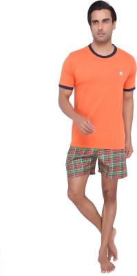 Valentine Men's Solid Orange Top & Shorts Set