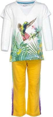 Pepito Girl's Printed White Top & Pyjama Set