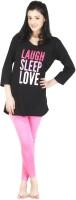 Nite Flite Laugh Sleep Love Women's Printed Black, Pink Top & Pyjama Set