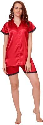 Demoda Women's Solid Red Top & Shorts Set