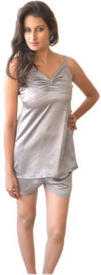 Miss-Me Women's Solid Grey Top & Shorts Set